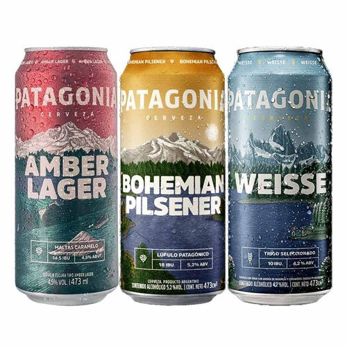 Cervejas Patagonia 473ml (Weisse + Bohemian Pilsener + Amber Lager)